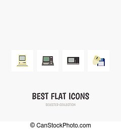 Flat Icon Laptop Set Of Computer Mouse, Computing, Vintage Hardware And Other Vector Objects. Also Includes Mouse, Computing, Retro Elements.