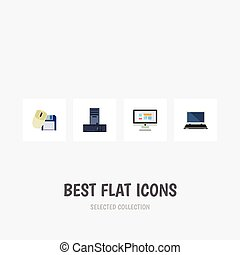 Flat Icon Laptop Set Of Computer Mouse, Display, Notebook And Other Vector Objects. Also Includes Laptop, Mouse, Processor Elements.