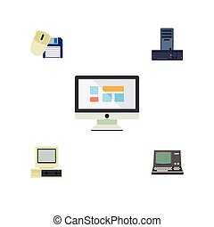 Flat Icon Laptop Set Of Computer Mouse, Processor, Technology And Other Vector Objects. Also Includes Retro, Mouse, Processor Elements.