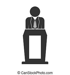 Flat icon, lecturer behind the podium with microphone, for web design.
