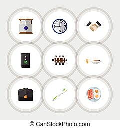 Flat Icon Life Set Of Briefcase, Mattress, Boardroom And Other Vector Objects. Also Includes Bed, Breakfast, Food Elements.