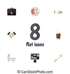 Flat Icon Life Set Of Bureau, Partnership, Cappuccino And Other Vector Objects. Also Includes Handbag, Greeting, Office Elements.