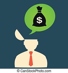 Flat icon man thinks about big money