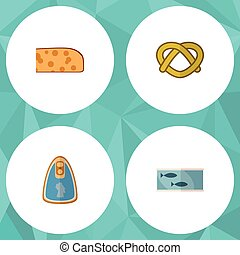 Flat Icon Meal Set Of Tin Tuna, Cheddar Slice, Cookie And Other Vector Objects. Also Includes Pretzel, Breakfast, Fillet Elements.
