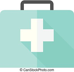 Medical case icon in flat color style. Health care equipment storage