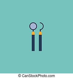 Flat Icon Mirror With Probe Element. Vector Illustration Of Flat Icon Equipment Isolated On Clean Background. Can Be Used As Dentist, Probe And Mirror Symbols.