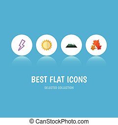 Flat Icon Natural Set Of Peak, Lightning, Canadian And Other...
