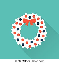 christmas winter wreath with red bow