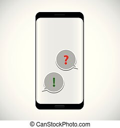 flat icon of a communication question and answer via smartphone