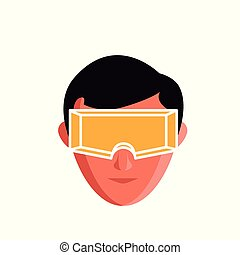 Flat icon of a face with a yellow plastic glasses