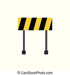 Flat icon of a yellow barrier with oblique black lines