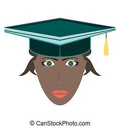 Flat icon of female graduate in graduation hat