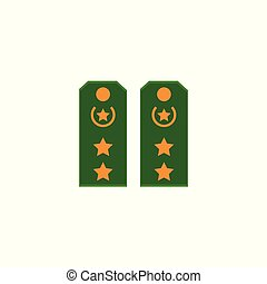 Flat icon of green military shoulder straps