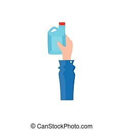 Flat icon of hand holding oilcan, fuel tank - Hand holding...