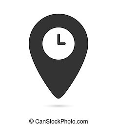 flat icon of location and clock isolated on a white background.