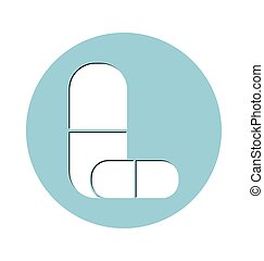 Flat Icon of medical capsules.