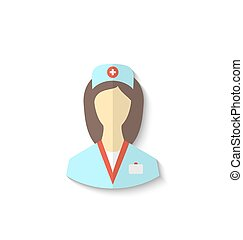 Flat icon of medical nurse with shadow isolated on white background