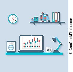 Flat icon of modern office interior with designer desktop, application with interface objects and elements in simple style, long shadows