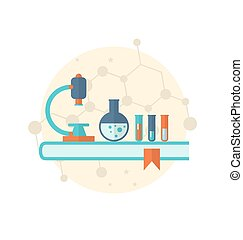 Flat icon of objects chemical laboratory