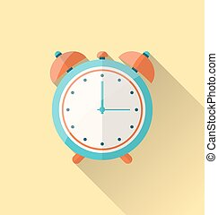 Flat icon of retro alarm-clock with long shadow