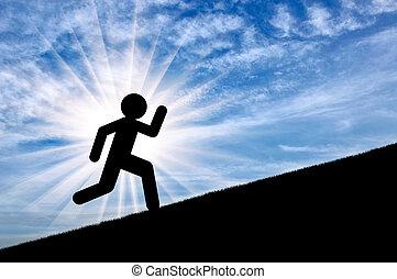 Flat icon of running man on sunset background, up on slope