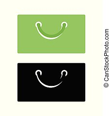Flat Icon of Shopping Bag - Emblem of Purchase in Green and Black colors isolated on white.