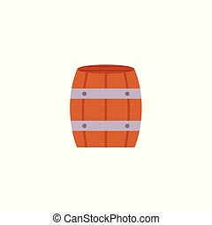 Flat icon of wooden beer, rum, wine barrel - Stylized flat...