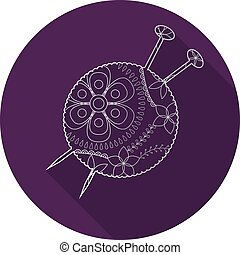 Flat icon of yarn ball