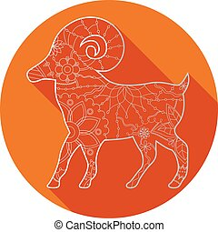 Flat icon of zodiac sign Aries