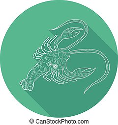 Flat icon of zodiac sign Cancer