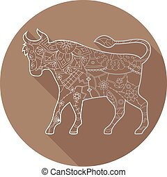 Flat icon of zodiac sign Taurus