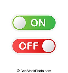 Flat icon On and Off Toggle switch button vector format. Vector illustration.