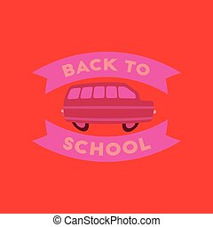 flat icon on background Back to school bus