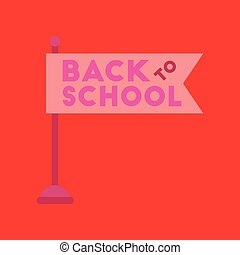 flat icon on background Back to school flag