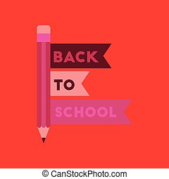 flat icon on background Back to school pencil