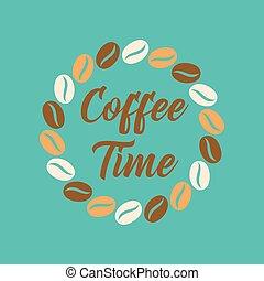 flat icon on background bean Coffee time logo - flat icon on...