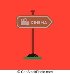 flat icon on background cinema sign