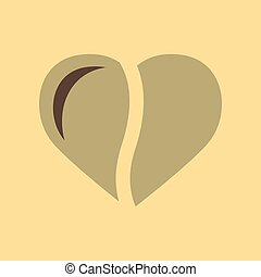 flat icon on background coffee bean heart