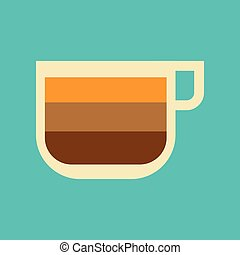 flat icon on background coffee cup latte macchiato - flat...