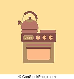flat icon on background coffee kettle stove