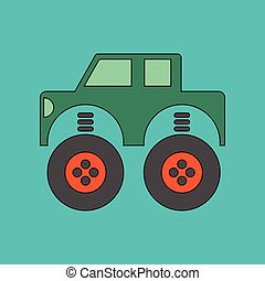 flat icon on background Kids toy car - flat icon on stylish...