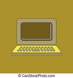 flat icon on background laptop