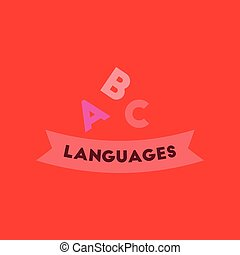 flat icon on background letters languages