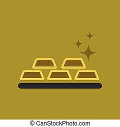 flat icon on background poker gold bullion - flat icon on...