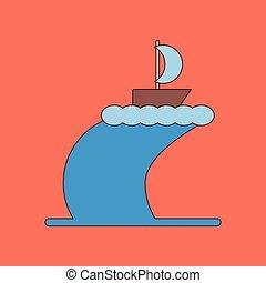 flat icon on background ship storm - flat icon on stylish...