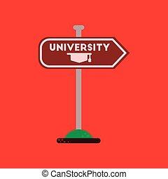 flat icon on background University sign