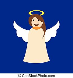 flat icon on blue background Christmas angel