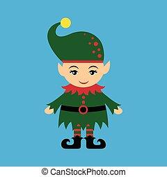 flat icon on blue background christmas gnome