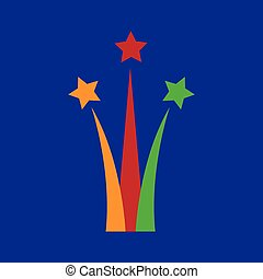 flat icon on blue background Star salute