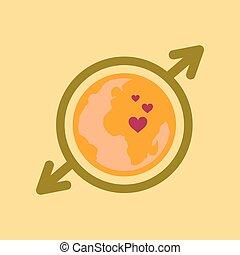 flat icon on stylish background Earth gays symbol